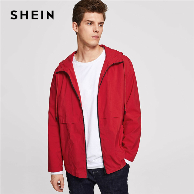 1445a45b7d SHEIN Men Red Basic Casual Solid Pocket Zip Up Drawstring Hooded Jacket  Autumn Minimalist Mens Coat And Outerwear