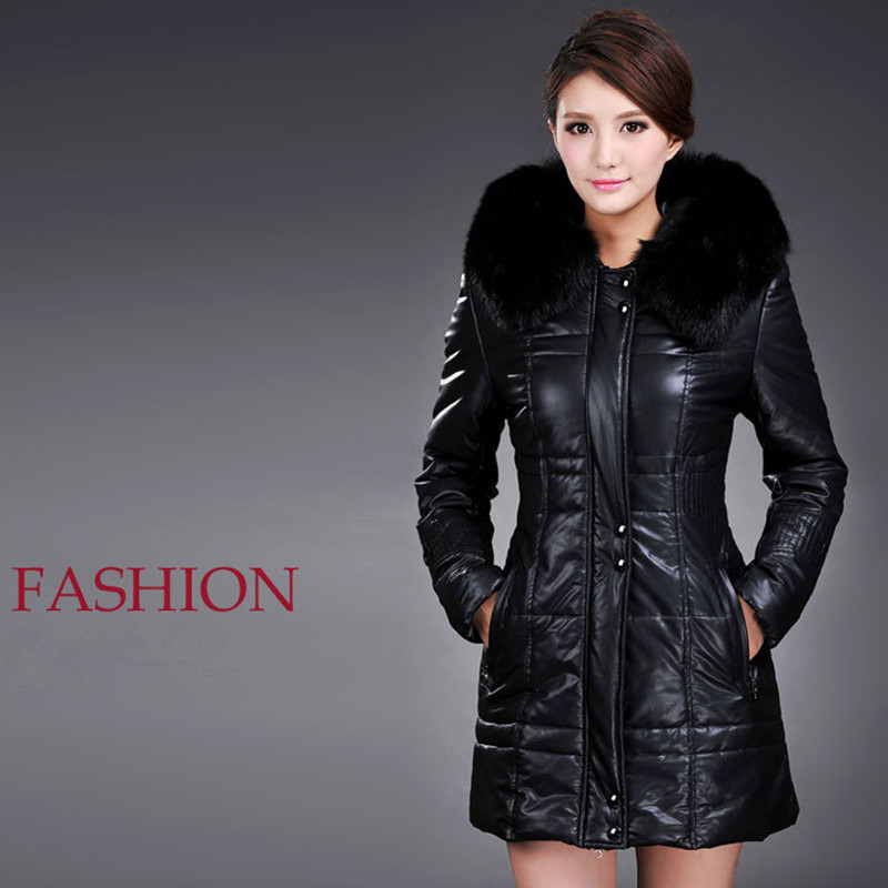2017 Winter New Women Plus Size PU Leather Parkas Coat Fur Collar Plus Cotton Thicken Hooded Long PU Leather Jacket Overcoat 6XL