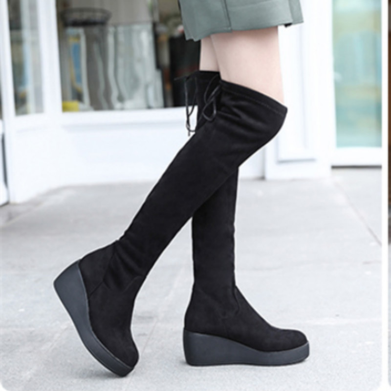 2018 New Autumn Boots Women Wedges High Heel Over The Knee Boots Winter Shoes Knee/long Boots Thigh High Boots 2017 new winter arrival long boots for women over the knee thigh boots high heel flock shoes club boots botas mujer femininas