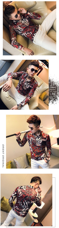 Bronzing Shirts Mens Social Club Outfits Slim Fit Fashion Men Shirts 2019 Korea Mens Casual Clothing Floral Printed Shirts 8