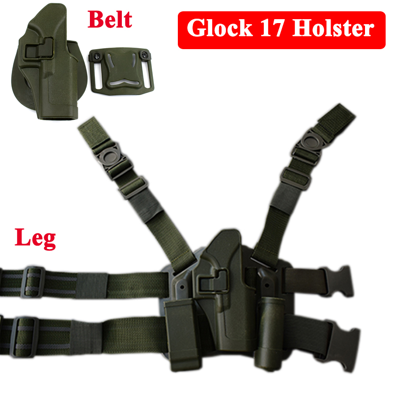Glock 17 Pistol Belt Holsters Tactical Airsoft Air Gun Hunting Equipment Hand Gun Belt / Leg Holster For Glock 17 19 22 23 31 32