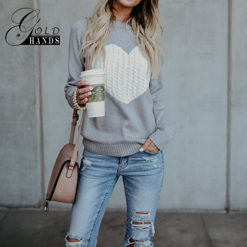 Autumn Winter Women O-neck Knitted Sweaters Heart Cute Long Sleeve Pullover  Knitting Sweater Women Casual Patchwork Pullovers