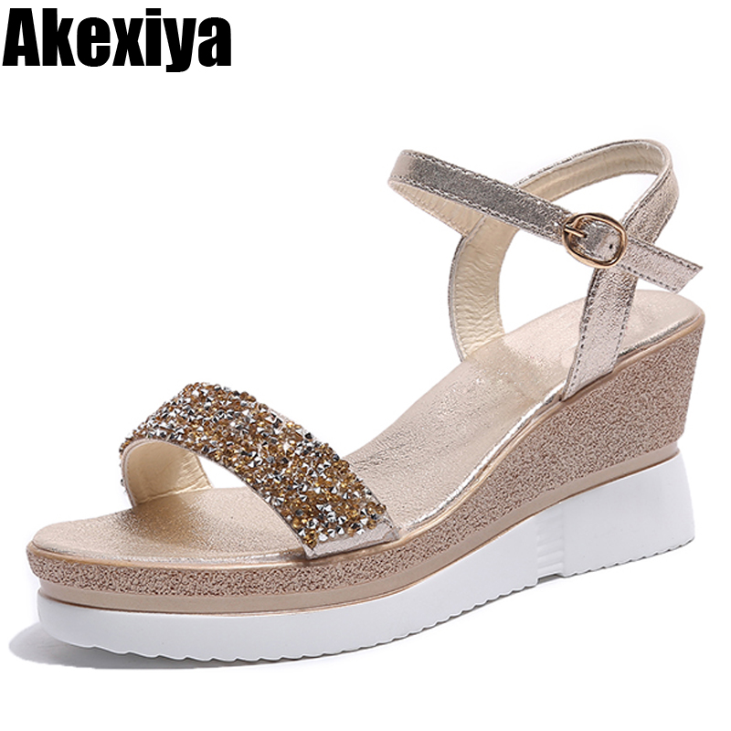 2018 summer high heels sandals women shining glitter silver gold platform wedges ladies open toe Buckle Strap casual shoes pumps xiaying smile woman sandals shoes women pumps summer casual platform wedges heels sennit buckle strap rubber sole women shoes