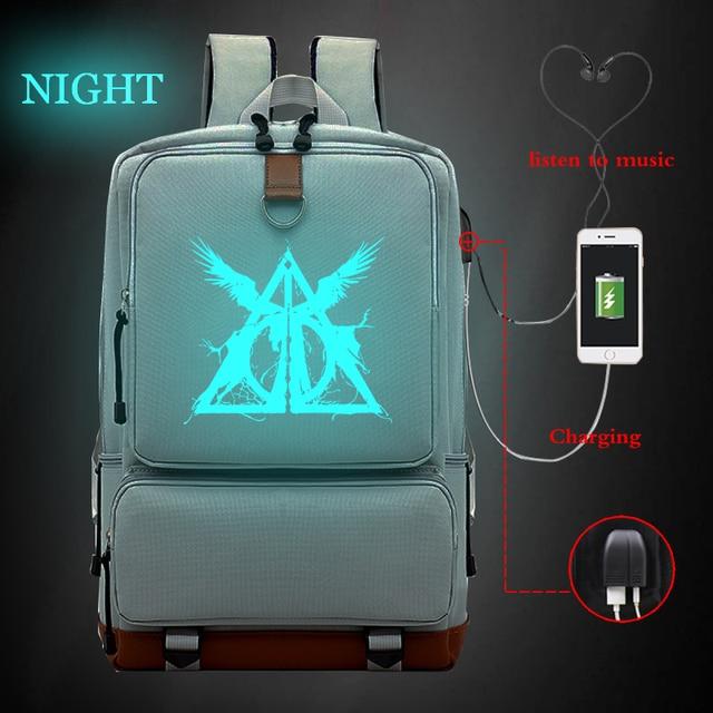 Bagpack Sacos de Meninas Da Escola de grande Capacidade Mochila Luminosa Harri Potter Mochilas Travel Bag Mochila Faculdade Saco de Carregamento USB