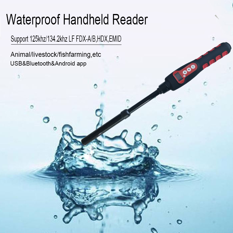 Multi-protocol Handheld Waterproof Animal Pet ID Microchip RFID Stick Reader For Pig Cattle Scanning With Android App Mobile SDK