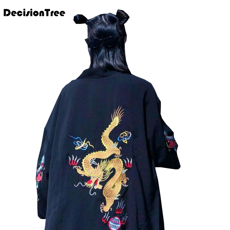 2019 summer stried kimono arrival sleeve split casual kimono Japanese Cartoon Printed Loose Tops Blusas Dragon Embroidery Kimono