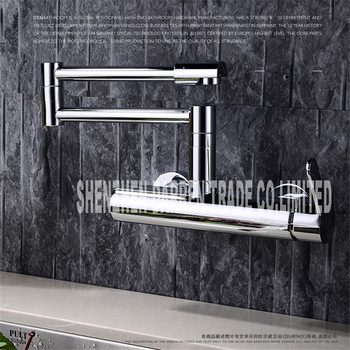 Pot Filler Faucet | 100% Brass Folding Wall Mount 360 Swivel Kitchen Faucet Sink Faucet Single Handle Chrome Faucet Pot Filler Faucet