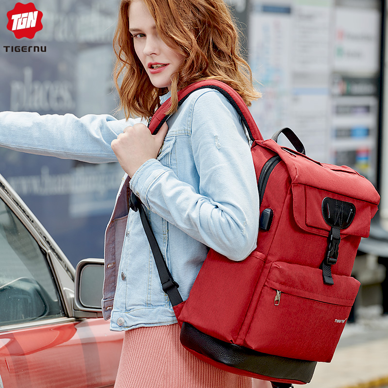 Tigernu Multifunction backpack women fashion youth female USB 15 6 laptop backpack schoolbags for teenager girls