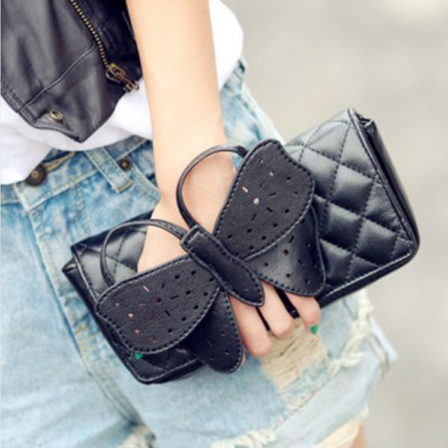d820595322 New Fashion Women Butterfly Bow knot side bags Chain HandBag messenger bags  ladies clutch