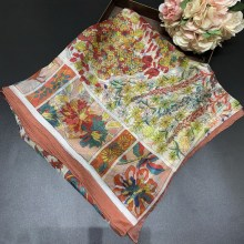 Floral Printing Scarf Pure Silk Chiffon Blended Ladies Female Scarves Women Sunscreen Shawls Wraps 140*140cm Handmade Hemming