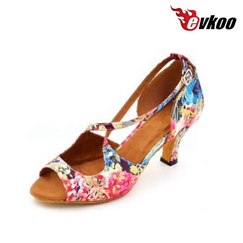 где купить Evkoodance Women Dance Shoes Flower Color Cotton Fabric Material 6cm Low Heel Ballroom Latin Tango Salsa Shoes Evkoo-448 по лучшей цене