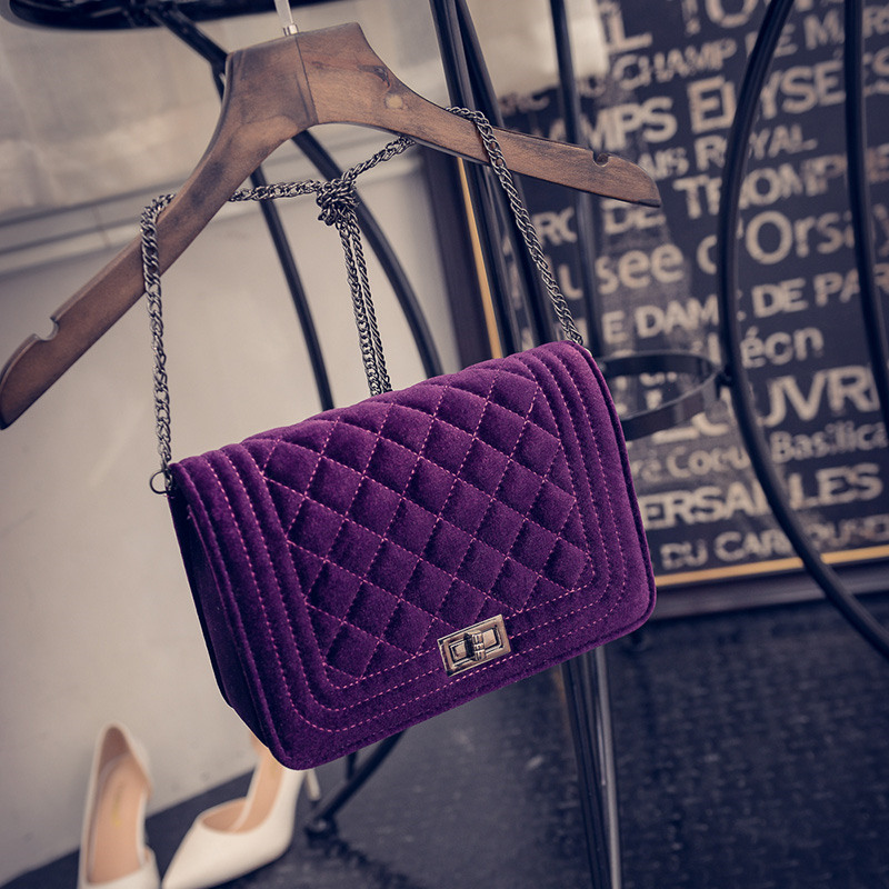 2017 Plaid Chain Fashion snakeskin Velvet women leather handbags day clutch wome