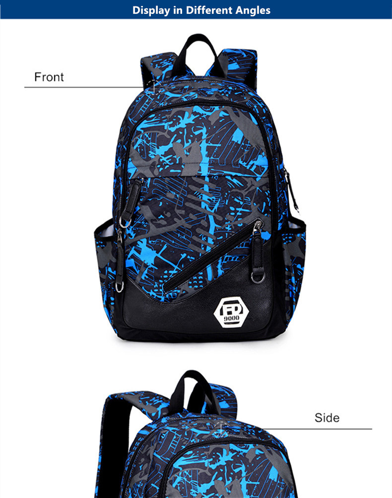 b0fa21a3ea39 FengDong waterproof oxford fabric boys school bags backpack for teenagers  pencil case blue book bag boy one shoulder schoolbag