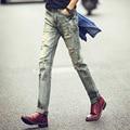 Fashion Young Boy Denim Pants Casual Elastic Men Vintage Cowboy Pants England Style Hole Vintage Jeans Pants