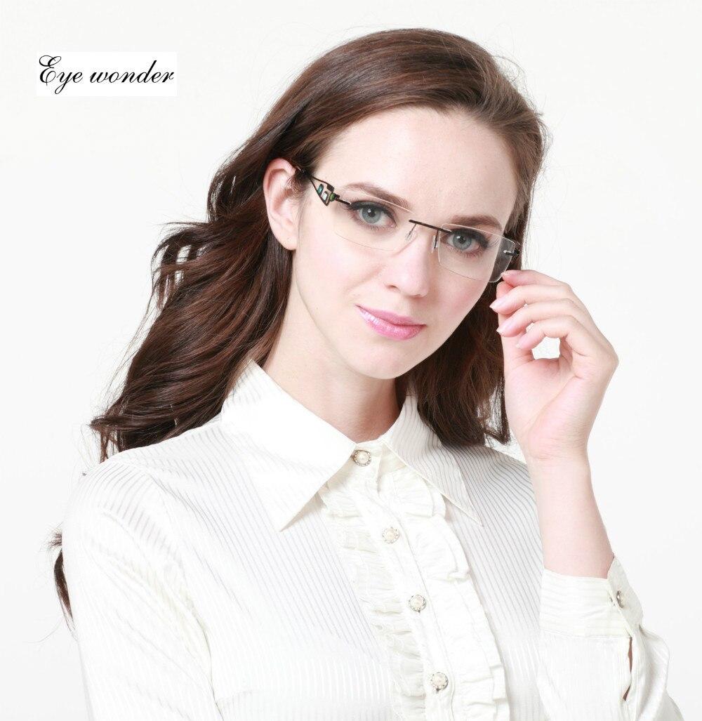 eye wonder men rimless stainless steel glasses women metal lightweight eyeglasses frames myopia with decoration on