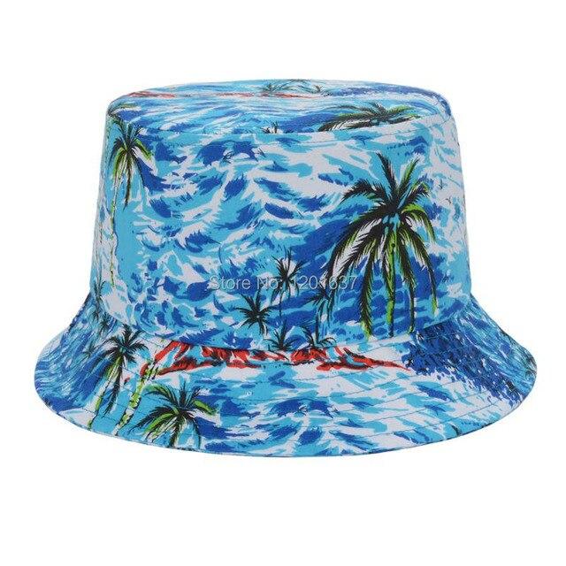 26e2f1c7 New 2015 Tropical Print Hawaii Summer Beach Bucket Hats For Women Cotton  Print Casual Bucket Hat Brand Sun Hats Goldtop