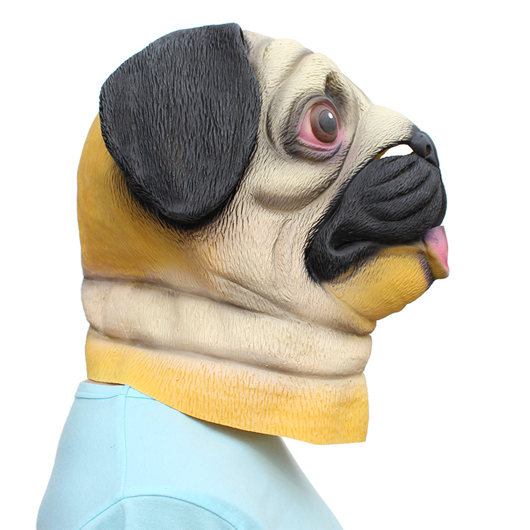 Cute Pug Dog Head Latex Mask Full Face Adult Mask Breathable Halloween Masquerade Fancy Dress Party Cosplay Costume Funny Mask in Party Masks from Home Garden