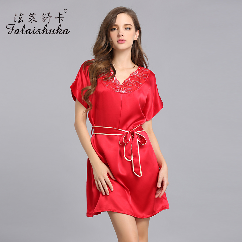 women silk nightgown Homewear 2019 summer loosen silk  lady nightgowns sleepshirts pink sexy silk nightwear female sleepwear