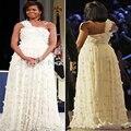 Vestidos De Fiesta New Year Elegant/grace Michelle Obama Celebrity Dresses One Shoulder Straight Applique Tulle Open Back Prom