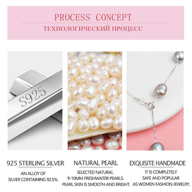 681badbc37ce3 ASHIQI Genuine 925 Sterling Silver Pendant Necklace For Women 9-10mm White  Gray Natural Freshwater Baroque Pearl Jewelry