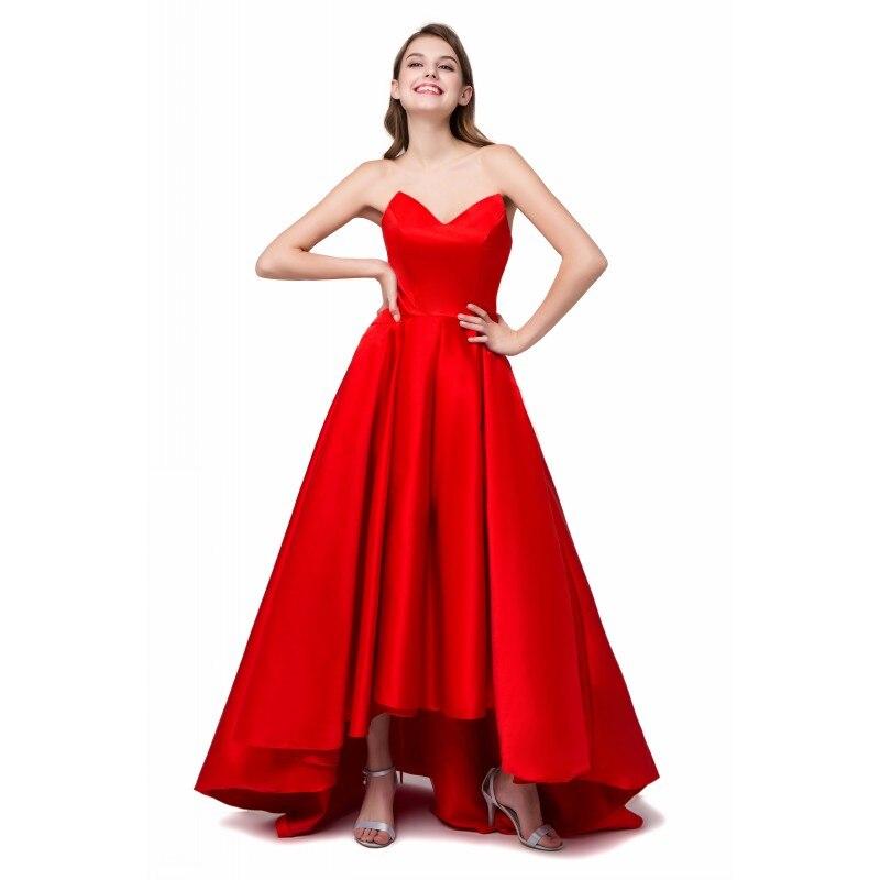 Haut bas robe de bal Sexy rouge chérie Corset dos court avant Long dos Satin femmes soirée formelle Occasion spéciale robes