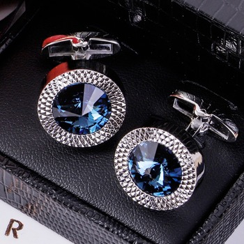 MAISHENOU Shirt Luxury Cufflinks for Mens Brand Wedding Gift cuffs button with crystal cuff links High Quality Free Shipping