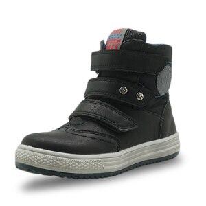 Image 3 - Apakowa/осенне зимние ботинки; Детская обувь из искусственной кожи; Однотонные ботильоны на плоской подошве для мальчиков; Модная детская обувь с поддержкой арки