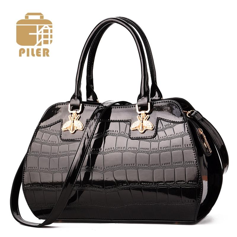 Alligator Designer Women Patent Bag Handbag Tote Shoulder Messenger Crocodile Varnished Leather Women Bag Lacquered Bag Handbag