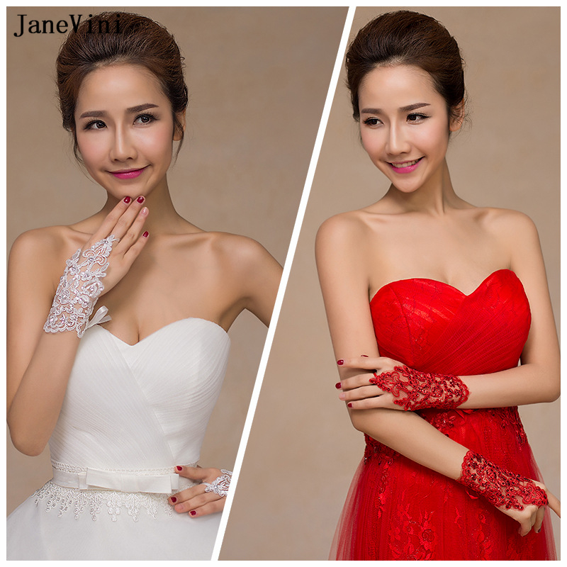 JaneVini 2018 Luxury Lace Sequins Bridal Gloves Red/White Gloves Fingerless Wrist Length Short Wedding Accessories Guantes Novia