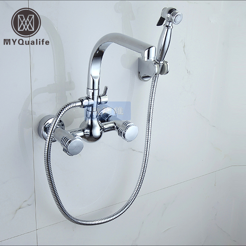 Multifunctional In-wall Kitchen Wash Vegetables Mixing Valve Faucet Hot and Cold Kitchen Faucet Laundry Tap with Sprayer Head fluids mixing and displacement in inclined geometries