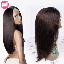 7A Yaki Straight Full Lace Human Hair Wigs Brazilian Virgin Hair Lace Front Wig For Black