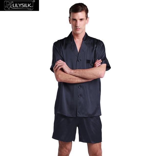 LilySilk Pajamas Set Men Nightwear Pure 100 Silk Short Sleeve Male 22 momme  Contrast Trim Sleepwear efdaa4e48