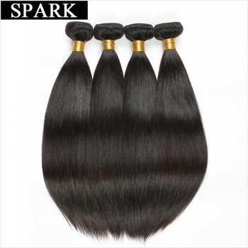 スパークストレートヘアブラジルの Remy 毛織りバンドル 100% 人毛 3/4 バンドル閉鎖自然な黒色送料部分