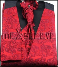 red paisley dress/Bridal Tuxedos man's silk waistcoat 4pcs(vest+ascot tie+cufflinks+handkerchief)