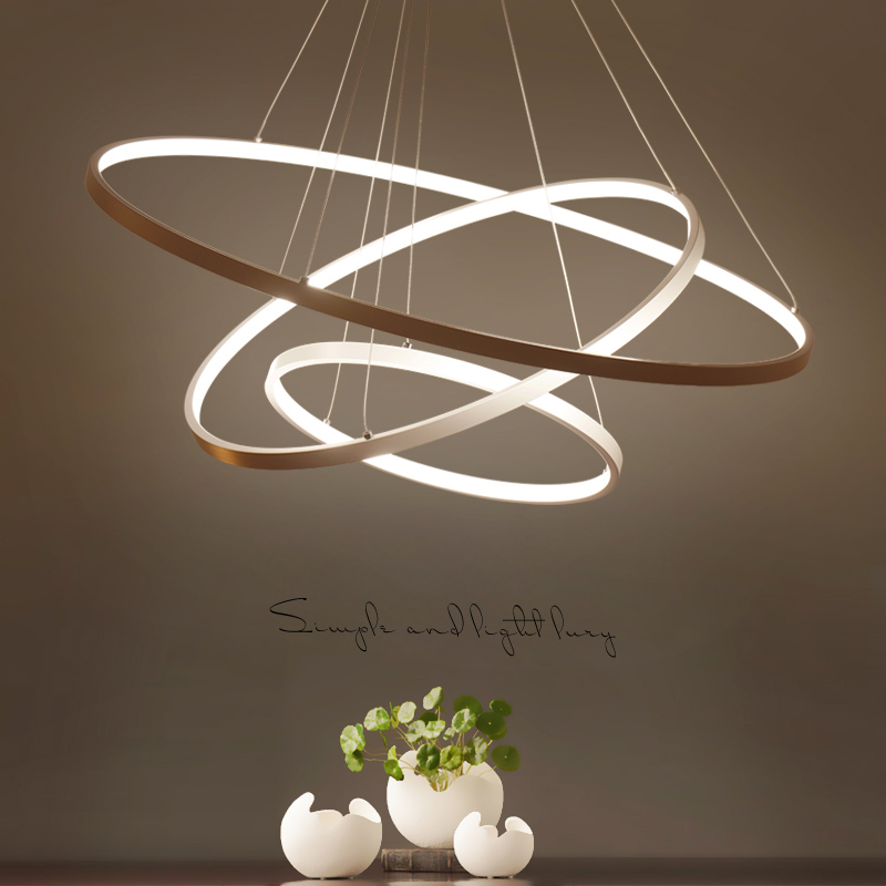 Black/White Fashional super thin Modern chandeliers circle 3 rings led chandelier light for indoor lighting 40CM 60CM 80CM 100CM