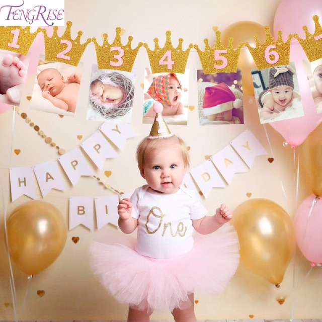 de80f5b3d0f fengrise first birthday baby photo frame 1st birthday banner newborn .