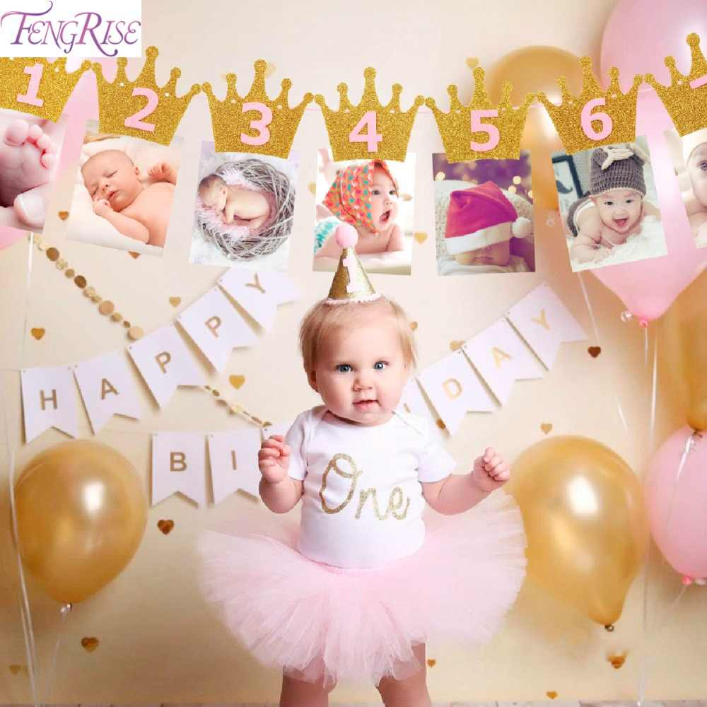 Fengrise First Birthday Baby Photo Frame 1st Birthday Banner Newborn 1 12 Months Photo Banner One Year Picture Frame Banner Party Diy Decorations Aliexpress