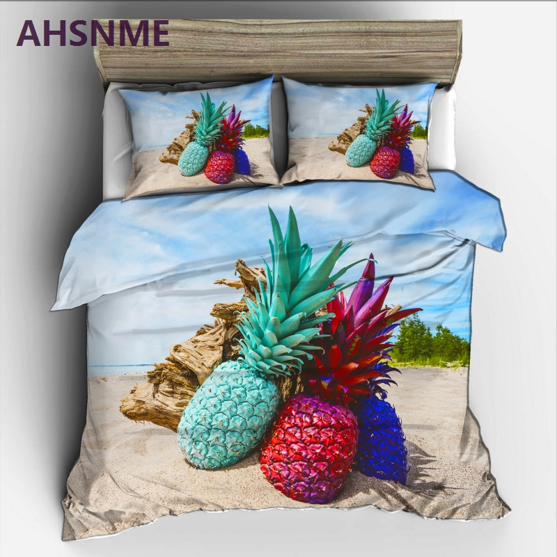 AHSME Colored Pineapple on Blue Sky White Sand Beach Bedding Set High-definition Print Quilt Cover for RU/AU/EU/US Size MarketsAHSME Colored Pineapple on Blue Sky White Sand Beach Bedding Set High-definition Print Quilt Cover for RU/AU/EU/US Size Markets