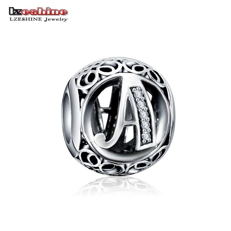 LZESHINE 100% Authentic Sterling Silver 925 Crystal Alphabet Letter A-Z Bead Charm Fit Original Pandora Charm Bracelet PSMB0634 2