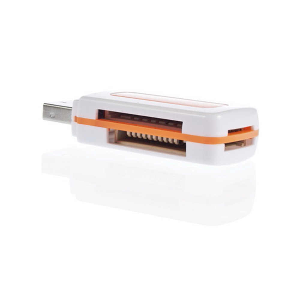 1pcs USB 2.0 4 in 1 Memory Multi Card Reader voor M2 voor SD SDHC DV Micro SD TF kaart Groothandel Oranje Drop Shipping