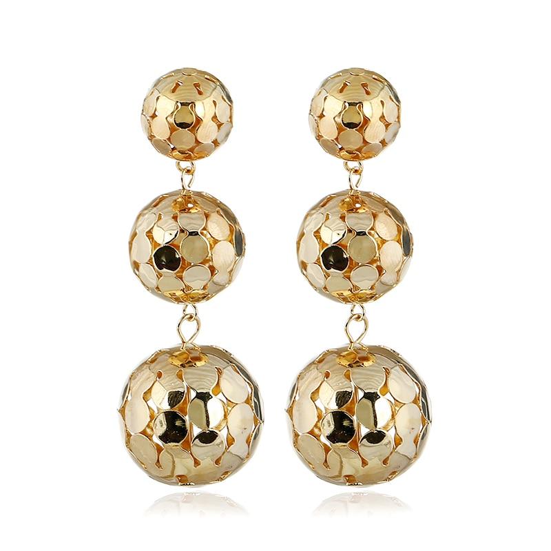 Gold color Metal Ball Earrings for Women 2018 Long Dangle Earring Statement Drop Earing vintage bold punk jewelry Wholesale