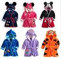 New 2015 baby girl/boy cartoon Pajamas Little Mermaid Tigger Bathrobes Robes kids soft Bath towel 6 color bathrobe girls 030