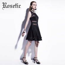 Rosetic Casual Women Dresses 2017 Summer Hollow Sexy Party Sleeveless Gothic Dress Patchwork Black A-line Mini Casual Goth Dress