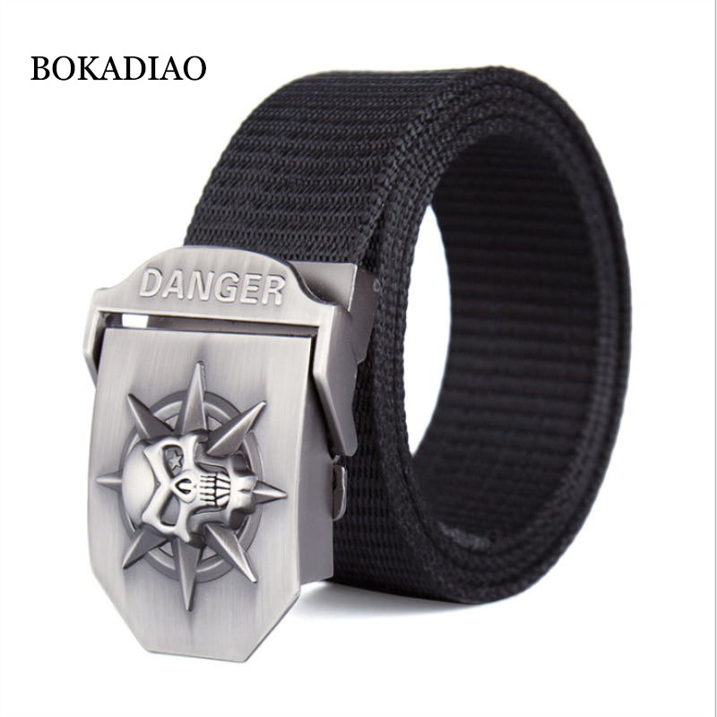 BOKADIAO Men&Women Thick Nylon Canvas Belt Skull Metal Buckle Luxury Jeans Belt Military Army Tactical Belts For Men Strap Male