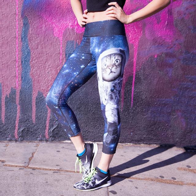 Cintura alta capris adventure time fitness 3d Espacio de impresión negro leche calzas deportivas mujer gato polainas de las mujeres pantalones