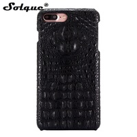 Solque Crocodile Pattern Real Leather Case For IPhone 8 Plus Luxury Ultra Slim Smart Phone Cases