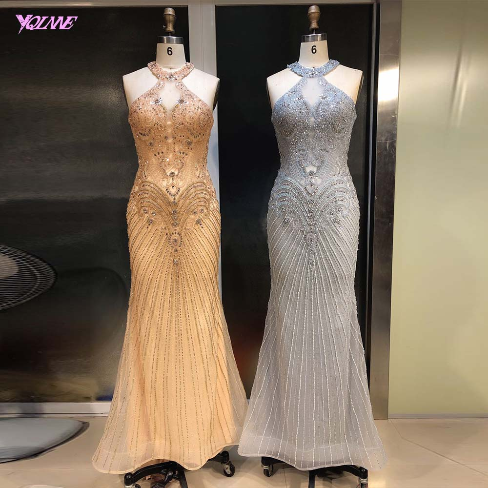 2019 Silver Rhinestones Evening Dresses Long Evening Gown Formal Mermaid Dresses YQLNNE