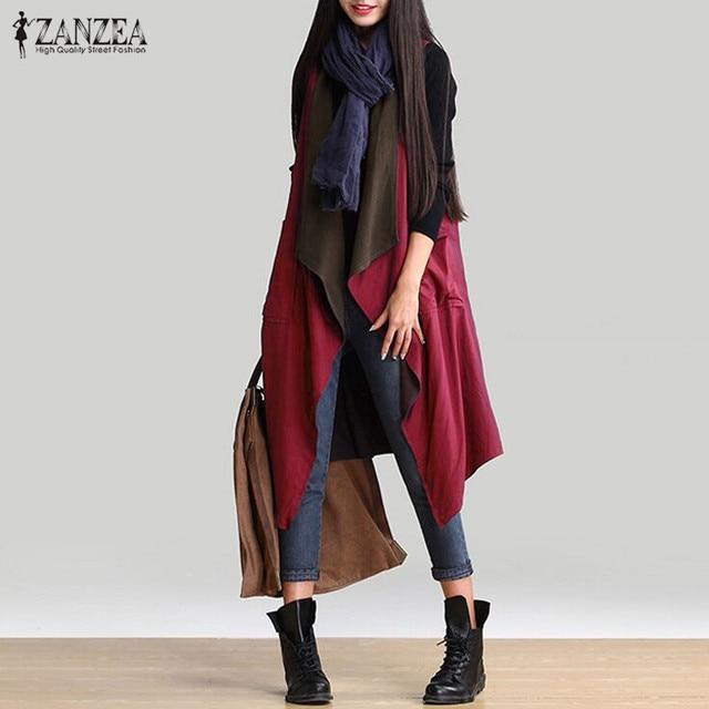 Outerwear 2017 Autumn Women Casual Waterfall Irregular Sleeveless Long Trench Coat Solid Loose Outwear Cardigan Reversible Wear