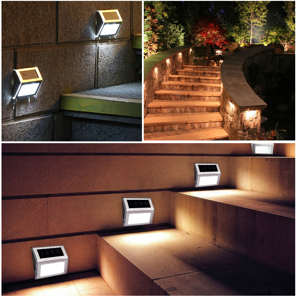 Stainless Steel Solor Power Stair Light Upgrade Solar Wall Lamp Weatherproof Outdoor Energy Saving Garden Decoration Lawn Lamps