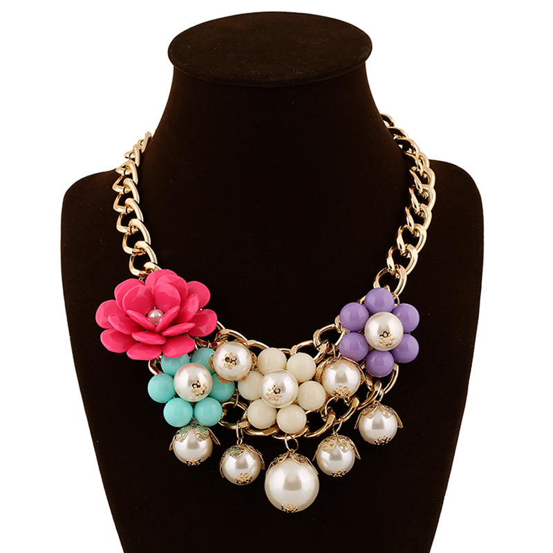Fashion multi layer resin flower luxurious simulated pearls necklace pendant statement choker necklace for women party